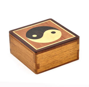 Yin Yang Secret Marquetry Stash Box with Invisible Opening System 8 x 8 cm Thumbnail 1