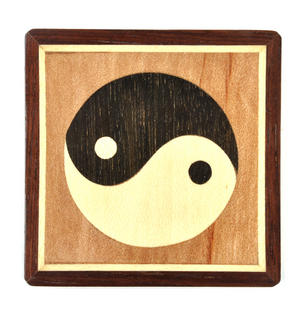 Yin Yang Secret Marquetry Stash Box with Invisible Opening System 8 x 8 cm Thumbnail 2