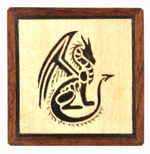 Dragon Secret Marquetry Stash Box with Invisible Opening System 8 x 8 cm Thumbnail 2