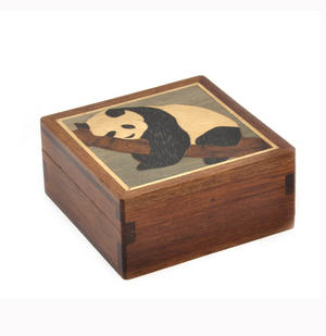 Panda Secret Marquetry Stash Box with Invisible Opening System 8 x 8 cm