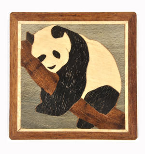 Panda Secret Marquetry Stash Box with Invisible Opening System 8 x 8 cm Thumbnail 2