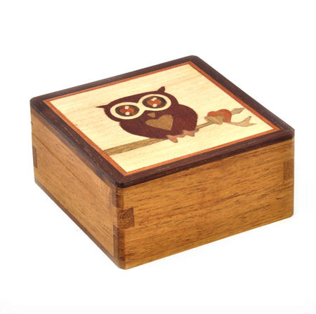 Owl Secret Marquetry Stash Box with Invisible Opening System 8 x 8 cm