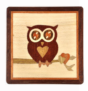 Owl Secret Marquetry Stash Box with Invisible Opening System 8 x 8 cm Thumbnail 2