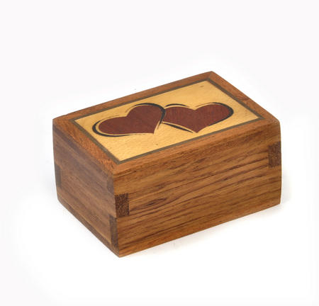 Lovehearts Secret Marquetry Stash Box with Invisible Opening System 5 x 7 cm