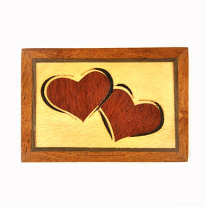Lovehearts Secret Marquetry Stash Box with Invisible Opening System 5 x 7 cm Thumbnail 2