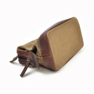 Camel Tough Wax Canvas Traditional Metal Frame Zipper Washbag / Shaving Case Thumbnail 2