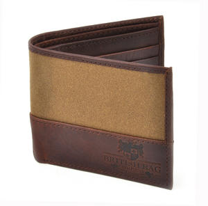 Camel Wax Canvas Brown Leather Bi-Fold Wallet Thumbnail 1
