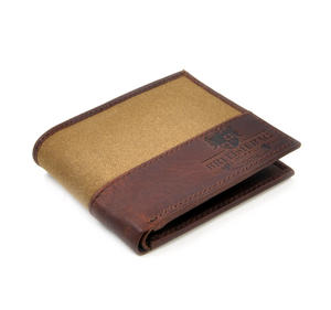 Camel Wax Canvas Brown Leather Bi-Fold Wallet Thumbnail 2