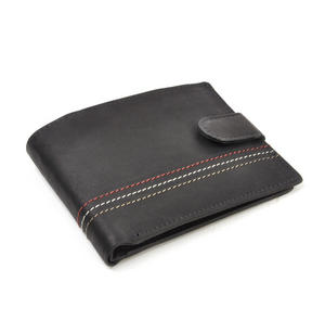 Traditional Black Leather Bi-Fold Tab Fastener Wallet Thumbnail 2