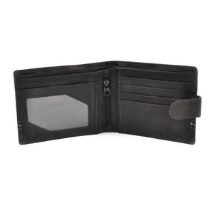 Traditional Black Leather Bi-Fold Tab Fastener Wallet Thumbnail 3