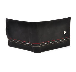 Traditional Black Leather Bi-Fold Tab Fastener Wallet Thumbnail 4