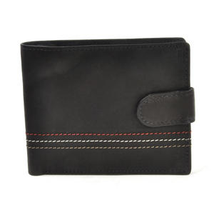 Traditional Black Leather Bi-Fold Tab Fastener Wallet Thumbnail 5