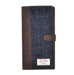 Blue Allasdale Harris Tweed Travel Documents Wallet by The British Bag Company