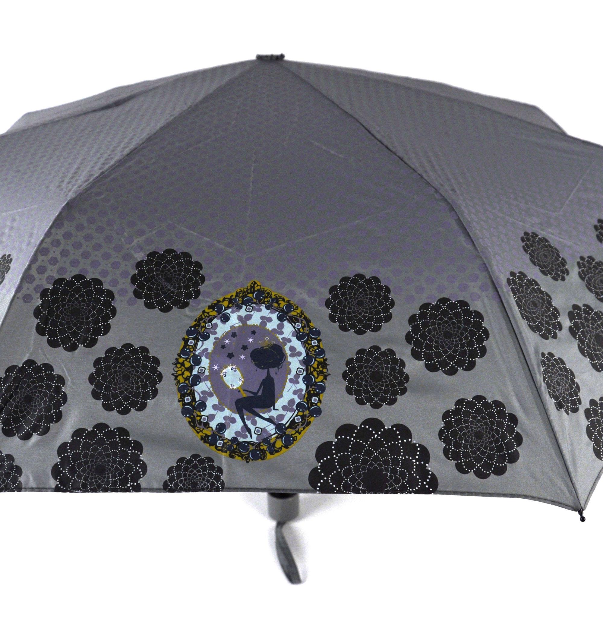 Ladies Deluxe Umbrella Compact Rain Brolly Decodelire Paris Madame Grey Womens
