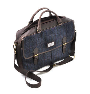Blue Allasdale Harris Tweed Briefcase Shoulder Bag by The British Bag Company