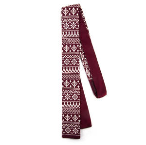 Burgundy Scandi Nordic Fair Isle Knitted Neck Tie by St. George Dresswear Thumbnail 2
