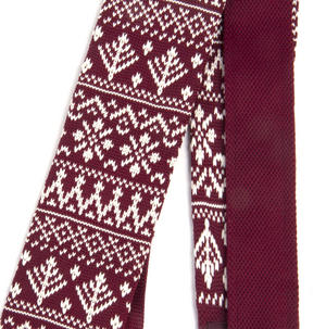 Burgundy Scandi Nordic Fair Isle Knitted Neck Tie by St. George Dresswear Thumbnail 4