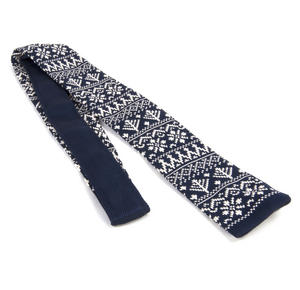 Navy Scandi Nordic Fair Isle Knitted Neck Tie by St. George Dresswear