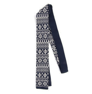 Navy Scandi Nordic Fair Isle Knitted Neck Tie by St. George Dresswear Thumbnail 3