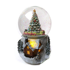 "MusicBox Kingdom 58069 Cosy Cottage Snow Globe Music Box, Plays The Melody ""Tannenbaum"" Thumbnail 1"