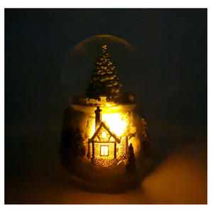 "MusicBox Kingdom 58069 Cosy Cottage Snow Globe Music Box, Plays The Melody ""Tannenbaum"" Thumbnail 2"