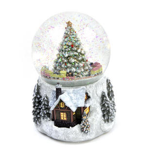 "MusicBox Kingdom 58069 Cosy Cottage Snow Globe Music Box, Plays The Melody ""Tannenbaum"" Thumbnail 3"