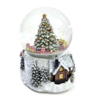 "MusicBox Kingdom 58069 Cosy Cottage Snow Globe Music Box, Plays The Melody ""Tannenbaum"" Thumbnail 6"