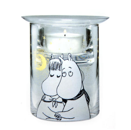 Winter Romance Glass Moomin Tea-Light Candle Essential Oil / Fragrance Burner