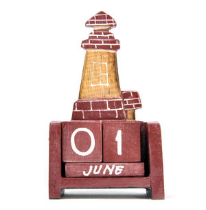 Red Brick Lighthouse Wooden Block Calendar Thumbnail 1