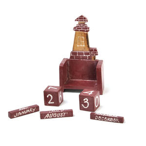 Red Brick Lighthouse Wooden Block Calendar Thumbnail 4