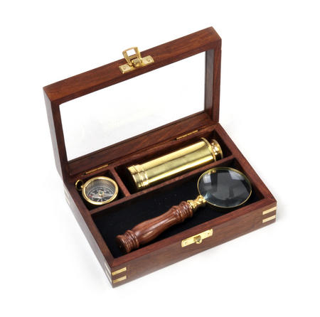 Darwin Explorer Set - Brass Hand Telescope, Magnifying Glass and Compass in Wooden Presentation Box - For Navigators and Sailors.