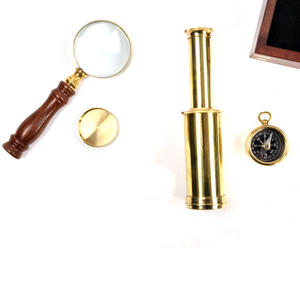 Darwin Explorer Set - Brass Hand Telescope, Magnifying Glass and Compass in Wooden Presentation Box - For Navigators and Sailors. Thumbnail 4