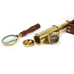 Darwin Explorer Set - Brass Hand Telescope, Magnifying Glass and Compass in Wooden Presentation Box - For Navigators and Sailors. Thumbnail 5