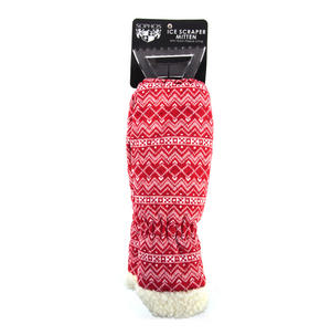 Red Nordic Fair Isle Ice Scraper Mitten