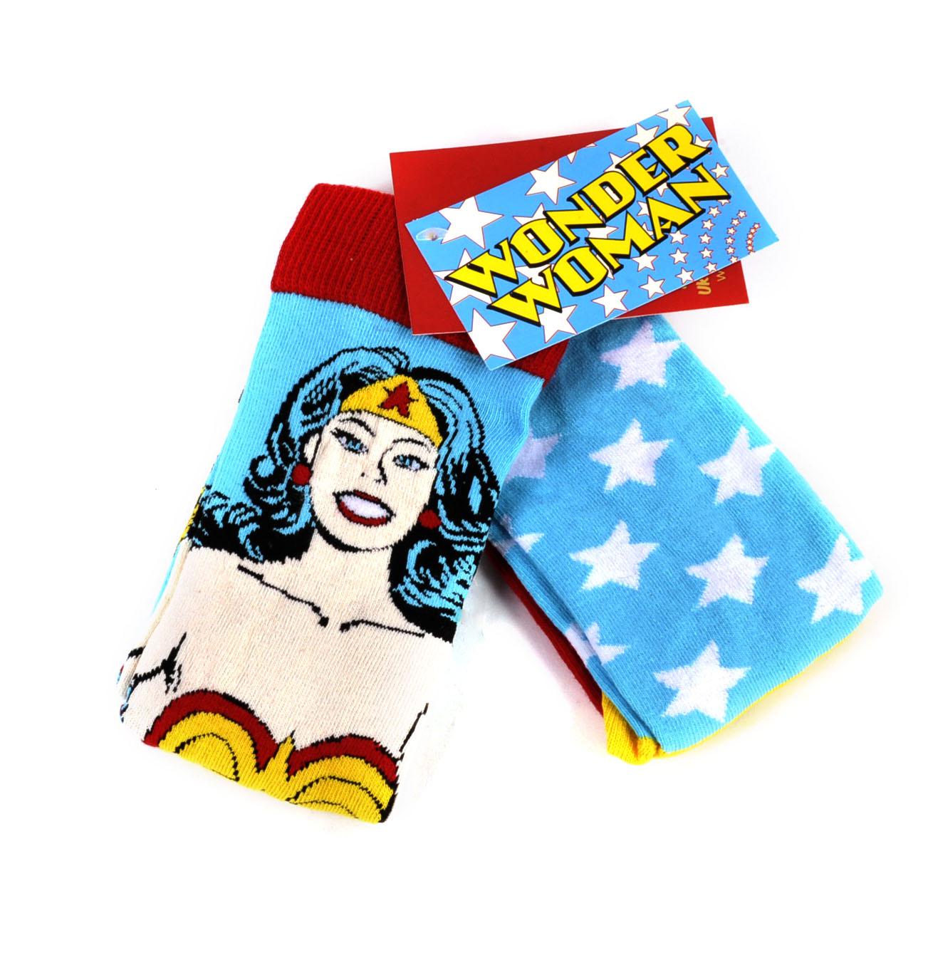 DC COMICS 2 PACK WONDER WOMAN STAR LOGO ALL OVER PRINT MENS CREW SOCKS RETRO NWT