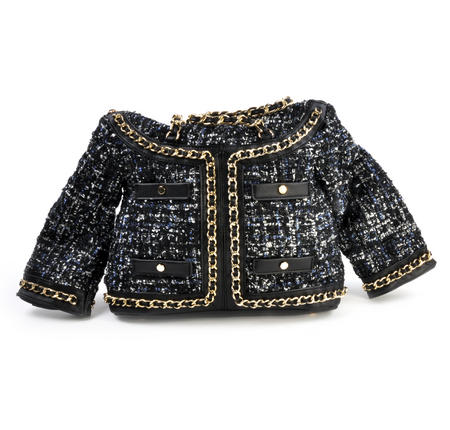 Classic Bouclé Tweed Couture Jacket - Deluxe Coco Wow!!! Bag - A Cross Body / Handbag Creation by Red Fox Fashion