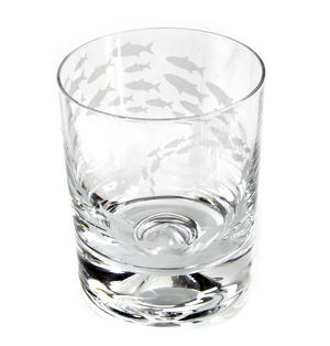 Fish Shoal - 30cl Animo Glass Whiskey Tumbler by The Milford Collection