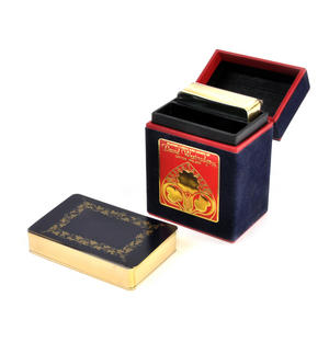 Gold Edged Rococo Playing Cards in Blue Velvet Fliptop Case - 2 Deck Set
