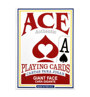 "Ace Giant Index / Face Poker Playing Cards - Traditional Large Size 3.5"" x 2.5"" - Random Blue or Red Thumbnail 5"