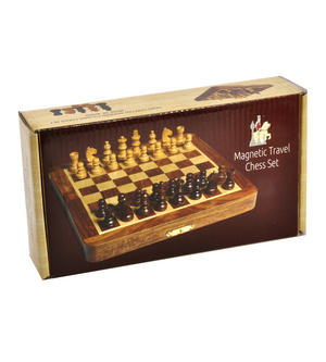 "Deluxe Folding Wooden Magnetic Travel Chess - 7"" / 17cm Square with Travel Bag Thumbnail 2"