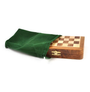 "Deluxe Folding Wooden Magnetic Travel Chess - 7"" / 17cm Square with Travel Bag Thumbnail 3"