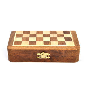 "Deluxe Folding Wooden Magnetic Travel Chess - 7"" / 17cm Square with Travel Bag Thumbnail 4"