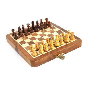 "Deluxe Folding Wooden Magnetic Travel Chess - 7"" / 17cm Square with Travel Bag Thumbnail 7"