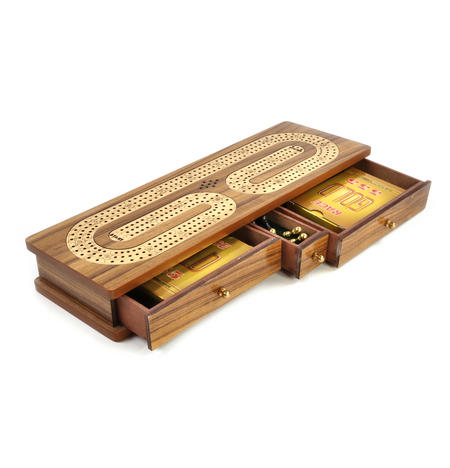 Luxury 3 Track Brown Topped Wooden Cribbage Board with Drawers, 2 Decks and Metal Pegs 1573B