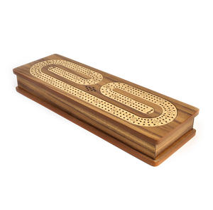 Luxury 3 Track Brown Topped Wooden Cribbage Board with Drawers, 2 Decks and Metal Pegs 1573B Thumbnail 2