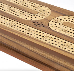 Luxury 3 Track Brown Topped Wooden Cribbage Board with Drawers, 2 Decks and Metal Pegs 1573B Thumbnail 3