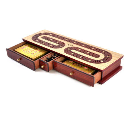 Luxury 3 Track Red / White Topped Wooden Cribbage Board with Drawers, 2 Decks and Metal Pegs 1573R