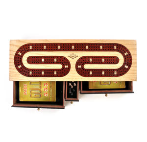 Luxury 3 Track Red / White Topped Wooden Cribbage Board with Drawers, 2 Decks and Metal Pegs 1573R Thumbnail 2