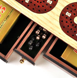 Luxury 3 Track Red / White Topped Wooden Cribbage Board with Drawers, 2 Decks and Metal Pegs 1573R Thumbnail 3