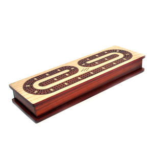 Luxury 3 Track Red / White Topped Wooden Cribbage Board with Drawers, 2 Decks and Metal Pegs 1573R Thumbnail 4